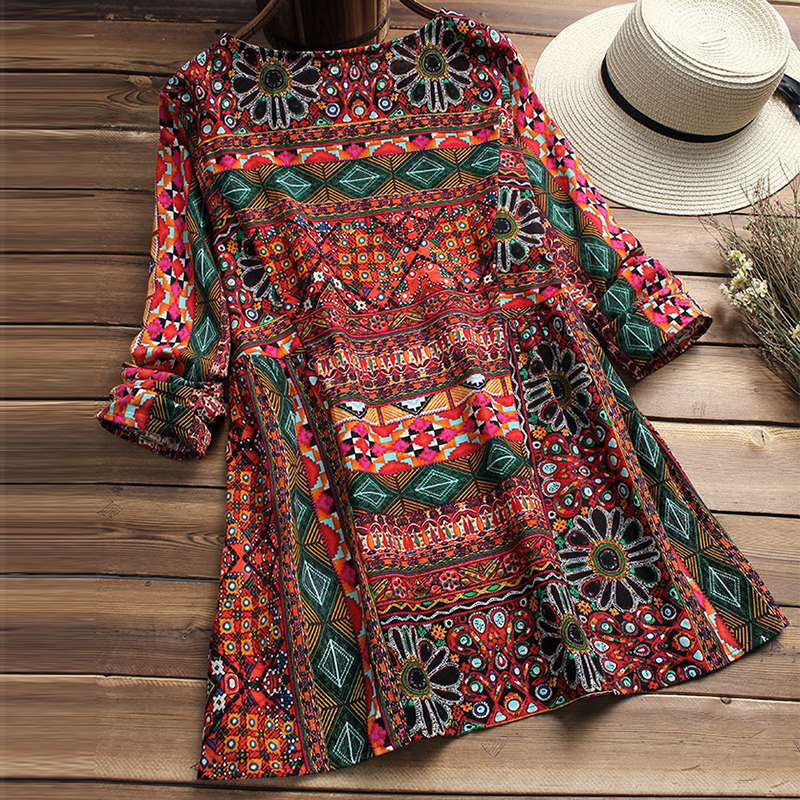 ZANZEA Fashion 2018 Women Blouse Autumn Round Neck Long Sleeve Shirt Loose Casual Vintage Print Blusas Femininas Plus Size Tops 3