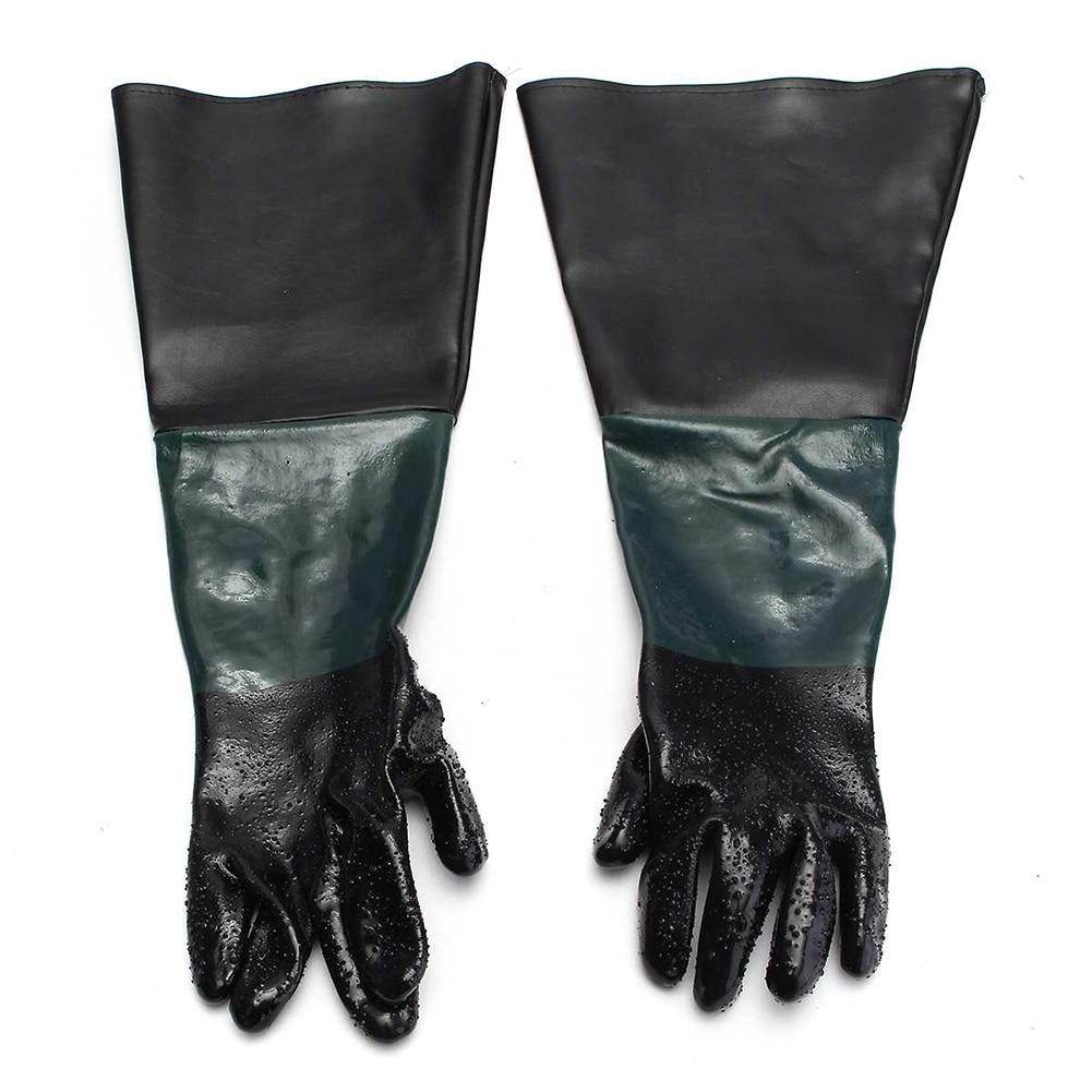 1Pair Work PVC Warm Portable For Sandblaster Cabinet Gloves Professional Machine Anti Slip Safety Labour Protection Sandblasting