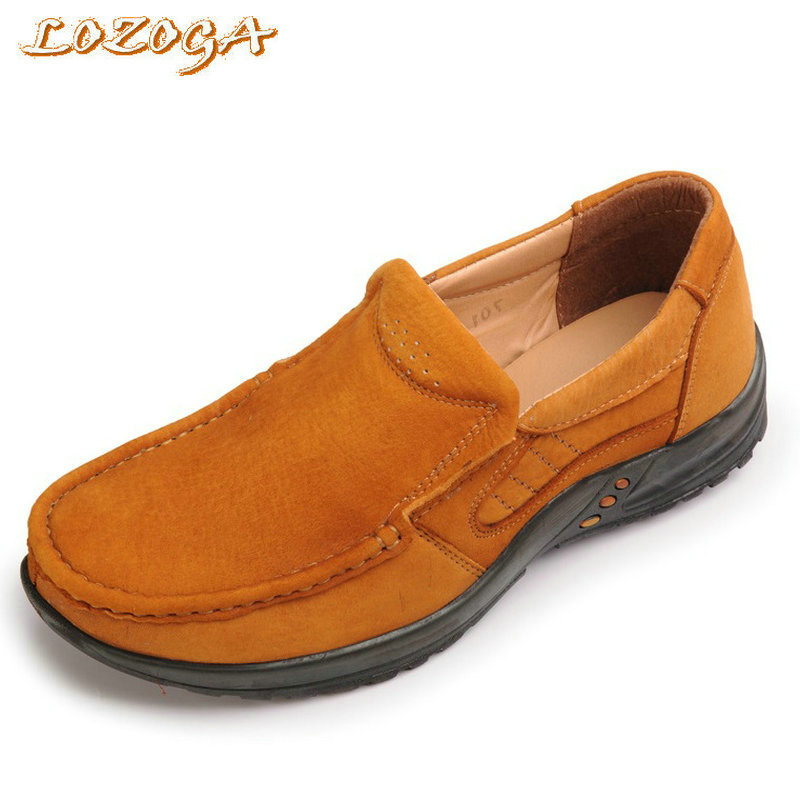 LOZOGA Men Shoes Brown Nubuck Leather Casual Shoes Slip On Outdoor Walk Fashion Shoes Handmade Brand Flats For Man New Footwear pop men outdoor loafers shoes man s slip on flats chaussure brand man soft flat casual shoes footwear zapatillas hombre xk080514