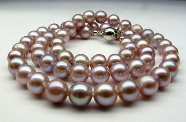 9-11mm natural south sea genuine purple lavender round pearl necklace14k цена