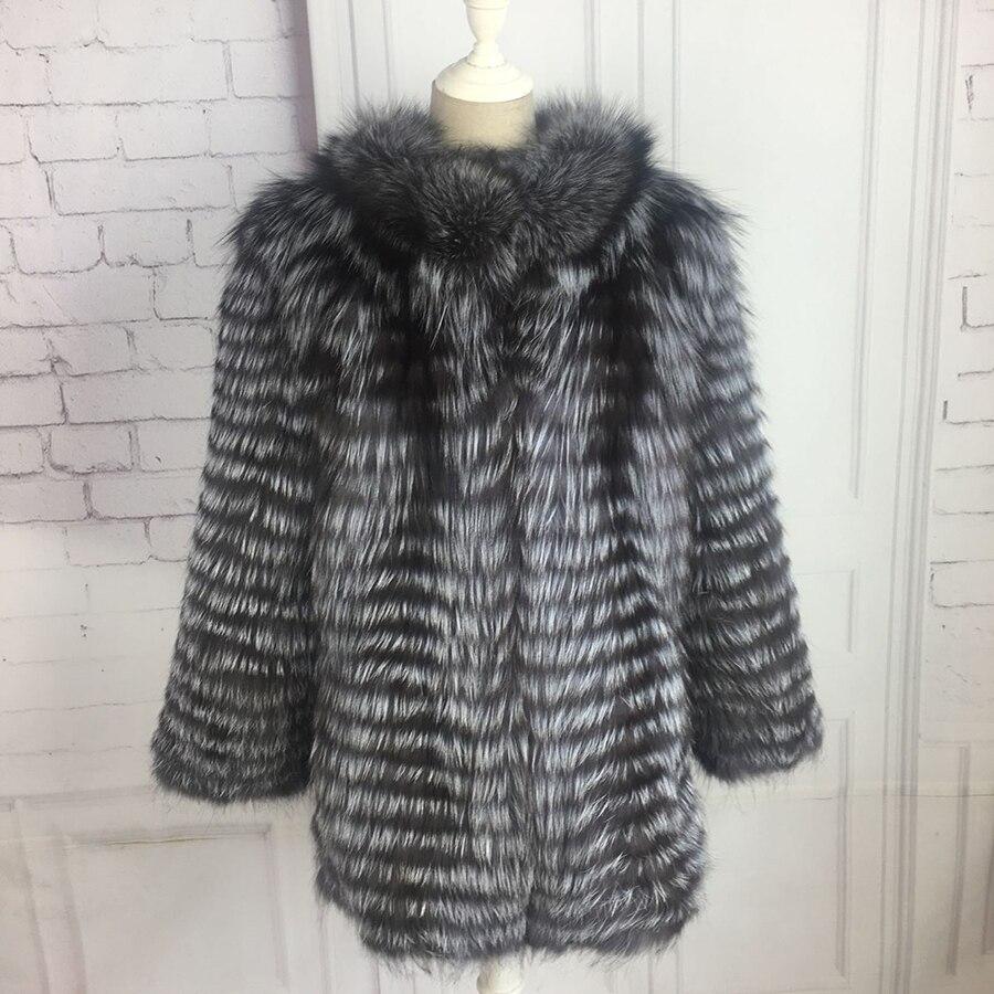 Manteau de fourrure véritable renard argenté court moyen veste Fourrure Naturelle Manteau De Mode avec col