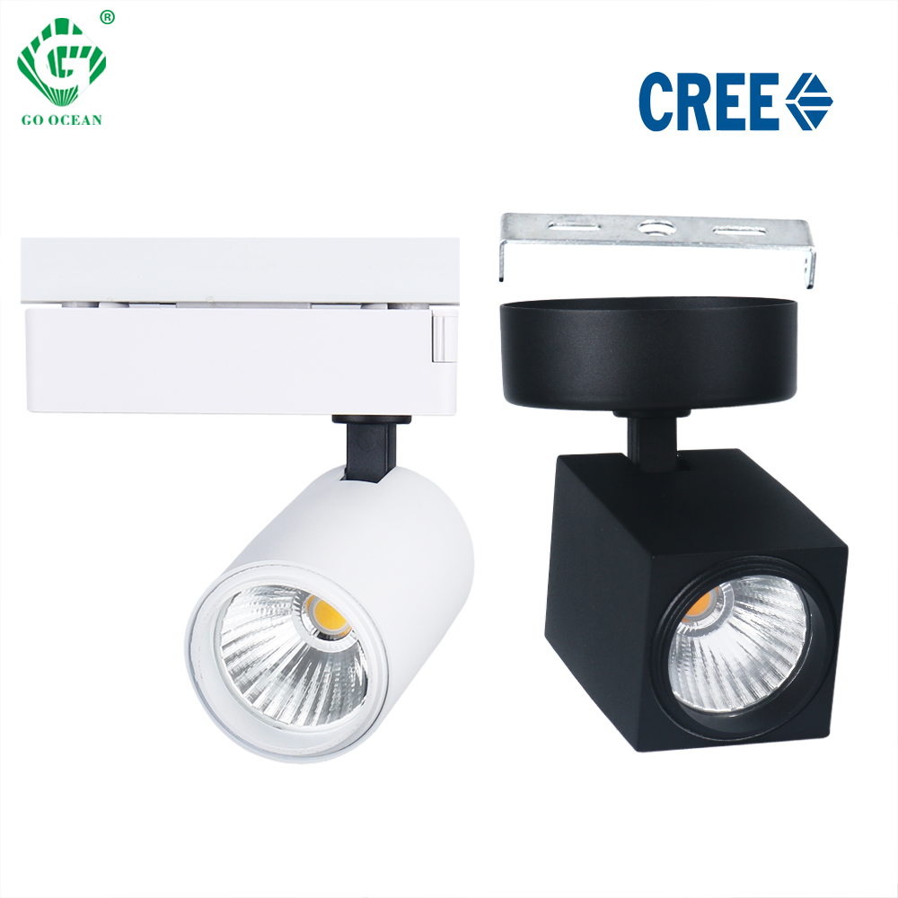 12W LED Track Light CREE Square Rail Spot Light Clothing Shoes Shop Home Kitchen Track Lighting System Spotlights Ceiling Lamps
