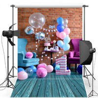 Красочная шар торт Таблица первый день рождения фон винил ткань высокого качества Компьютер печати партии Фоны для продажи