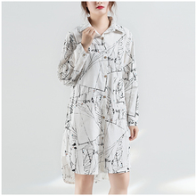 P Ammy Fashion Women Cotton Linen Graffiti Turn-down Collar Blouse  lagenlook Long 93a4b2357896
