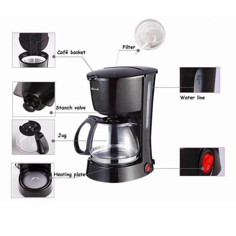 Electric Coffee Maker Machine Household Fully Automatic Drip 600ml Tea Pot 220v In Makers From Home