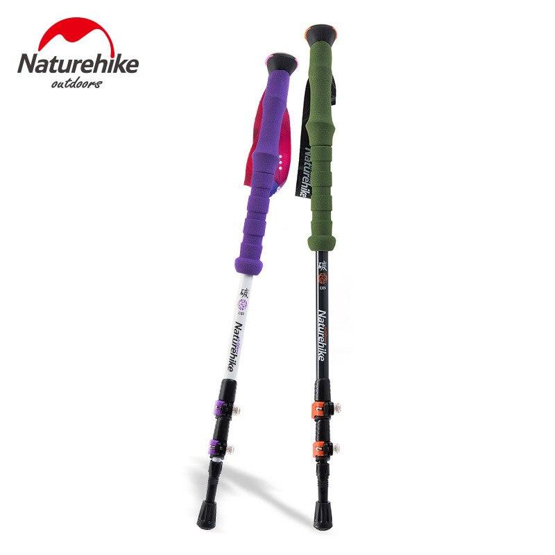 Naturehike Carbon Fiber Hiking Cane Walking <font><b>Stick</b></font> <font><b>Trekking</b></font> <font><b>Pole</b></font> Alpenstock For Ultra-light Adjustable 1PCS 3 Section 2 Color