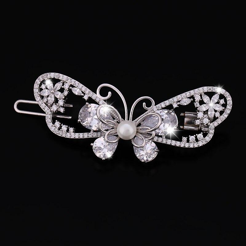 Mousseux Zircon Cristal Papillon Femmes Barrettes de CZ Zircon Bijoux De Cheveux De Mariage