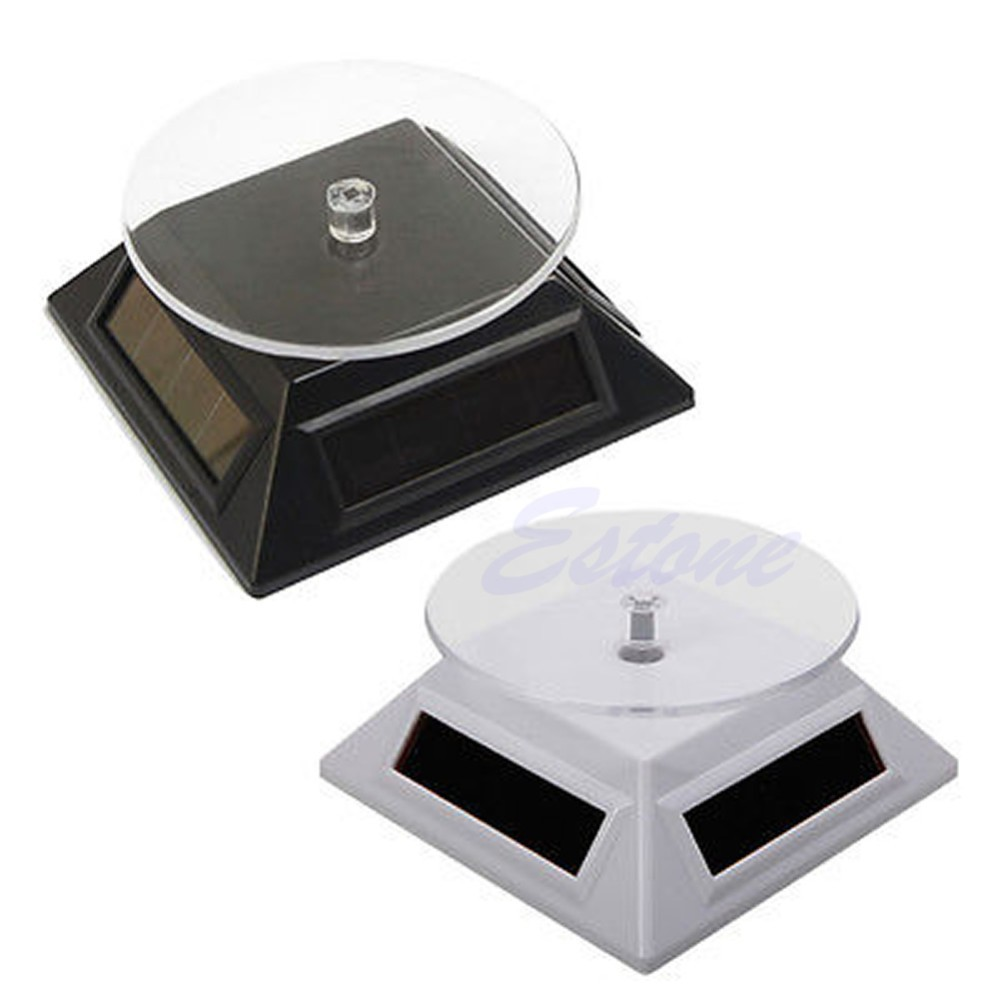 Black Solar Powered Rotating Display Stand Plate for Retail Shop Supermarket