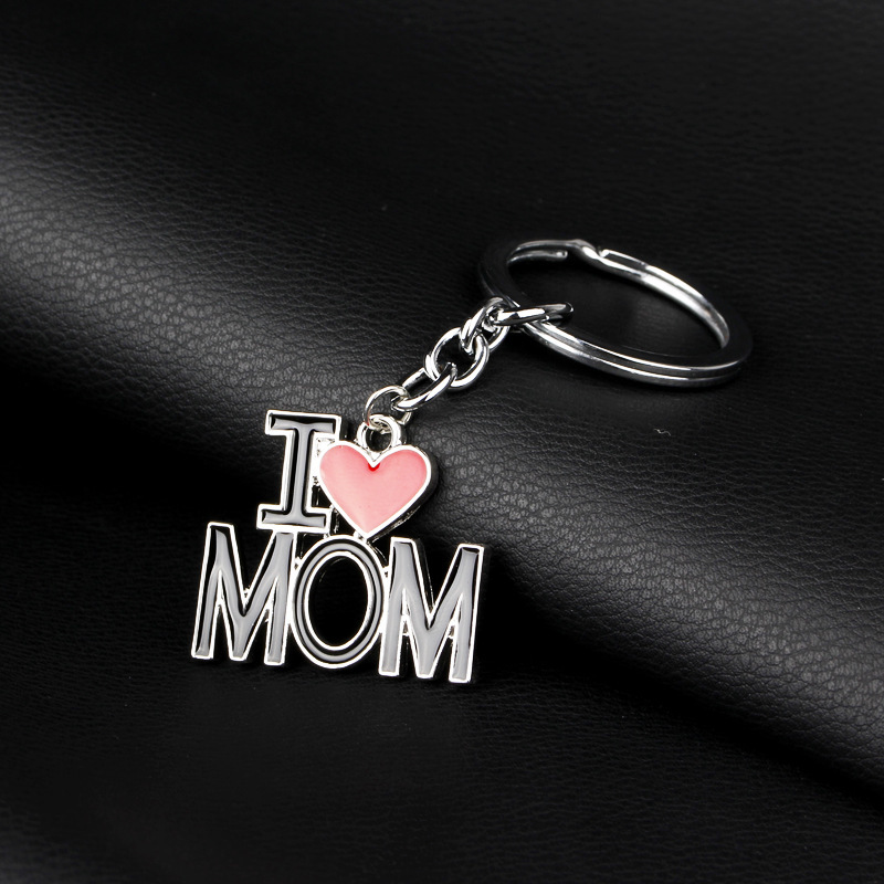 New I love mom dad papa mama heart trinket keychain Family rucksack buckle car key ring Fathers mothers day key chains locksmith