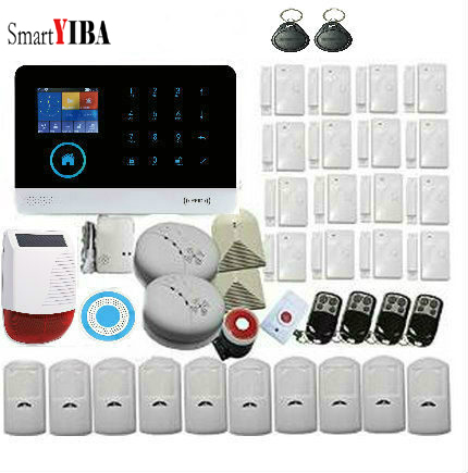 SmartYIBA Burglar Wireless GSM ALARM SYSTEM SECURITY HOME With Wireless RFID keypad Solar Power Siren FIRE DETECTOR Alarm KITS цена