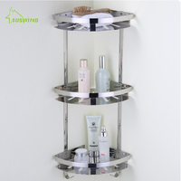 Bathroom Shelf Rack Wall Mounted Hanging Wall Triangular Frame Stainless Steel Double Deck Toilet Corner Shelf