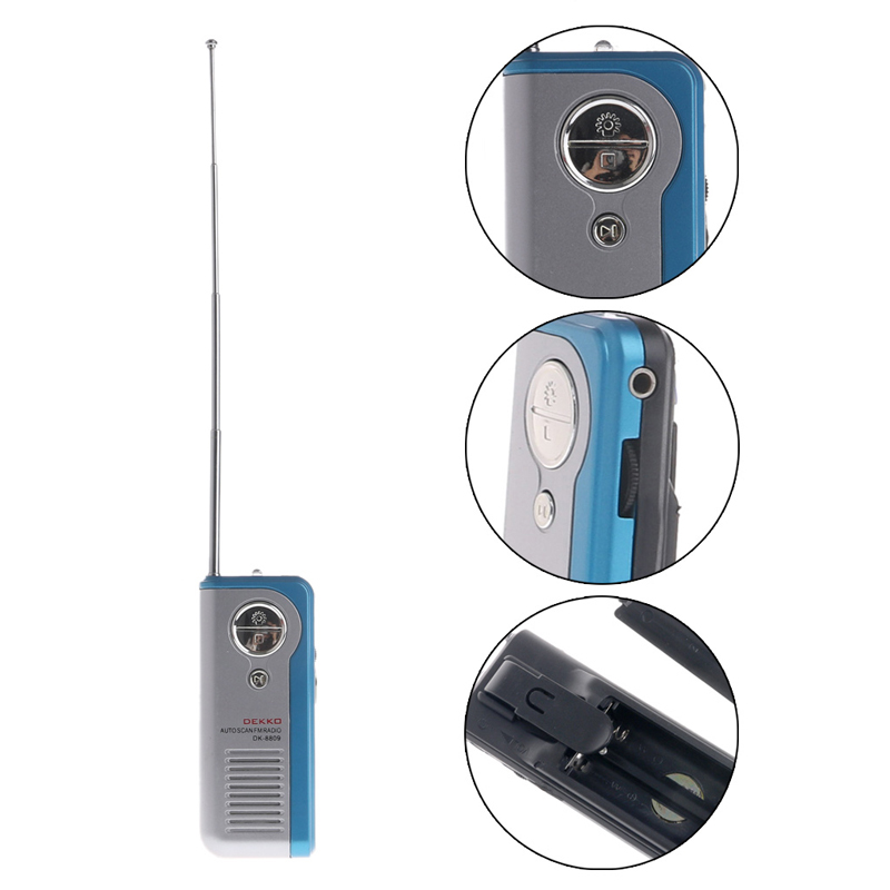 Mini Tragbare Auto Scan Fm Radio Empfänger Clip Mit Taschenlampe Kopfhörer Dk-8809 Geschickte Herstellung Tragbares Audio & Video