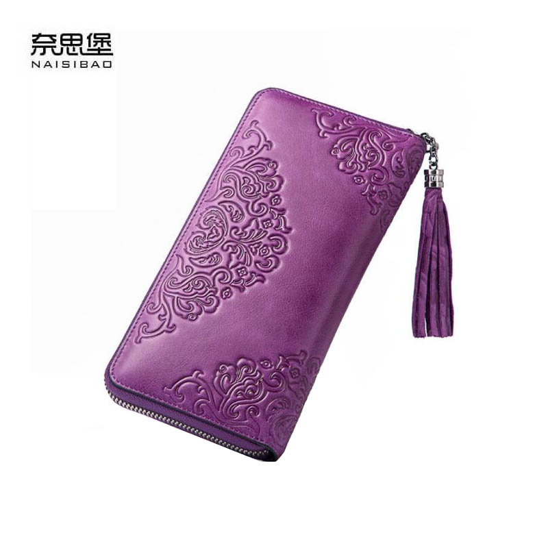 NAISIBAO 2019 New Genuine Leather wallet Cowhide women leather bag Fashion tassel embossing real leather women walletsNAISIBAO 2019 New Genuine Leather wallet Cowhide women leather bag Fashion tassel embossing real leather women wallets