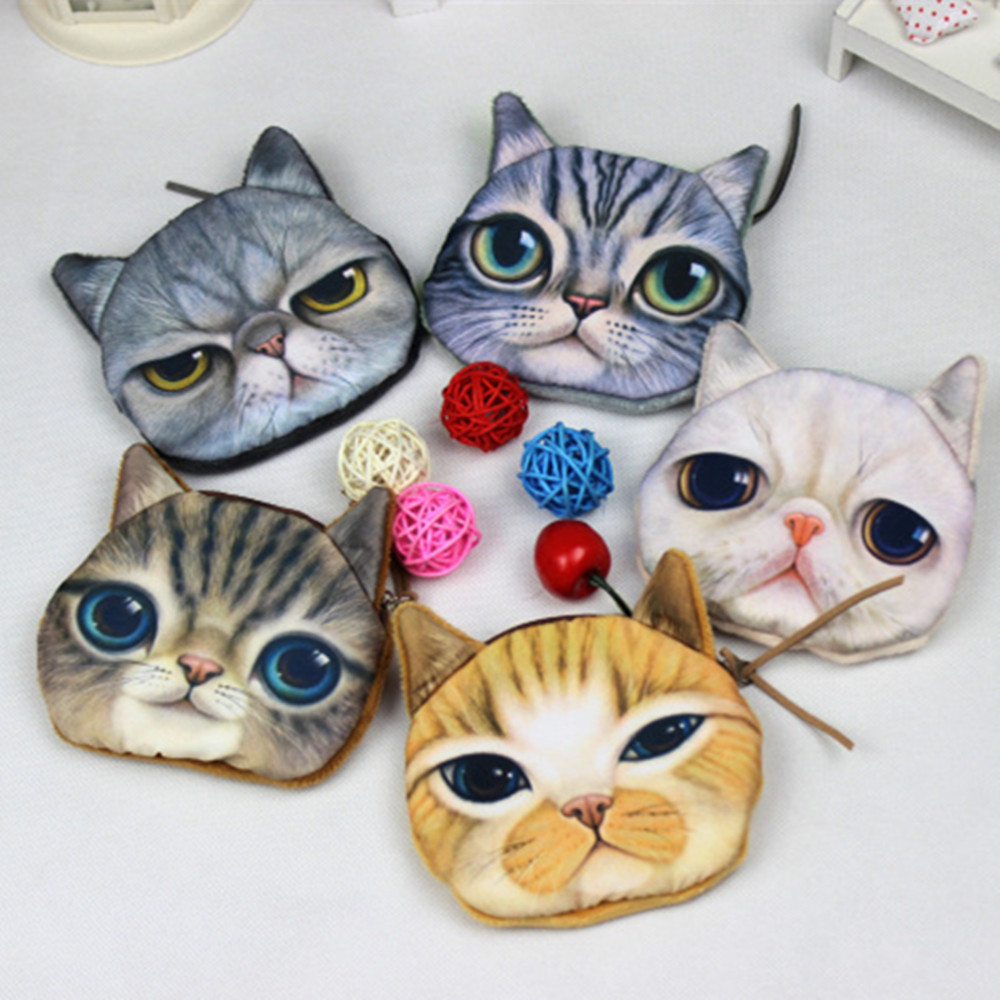 3D girl wallet bag ladies face zipper mini cat coin purses dog children's purse plush bolsa de moeda coins pouch monedero gato new cute 3d animal face zipper case cat coin purse female wallet bolsas child purse makeup buggy bag pouch bolsa feminina