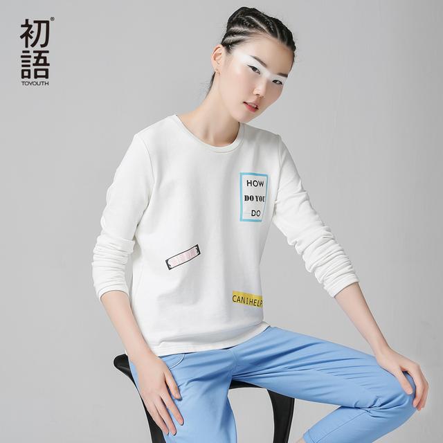 Toyouth 2017 Nuevas Camisetas de la Llegada Mujeres del Otoño Ocasional del Algodón Lleno Carta Simple Impreso O-cuello de la Parte Superior