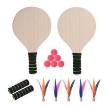 Beach Paddle Ball Game Badminton Tennis Pingpong Beach Cricket Wood Racket Paddles Set Outdoor Racquet Game for Adults Kids пляжный теннис сверчок