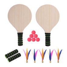 Beach Paddle Ball Game Badminton Tennis Pingpong Beach Cricket Wood Racket Paddles Set Outdoor Racquet Game for Adults Kids(China)