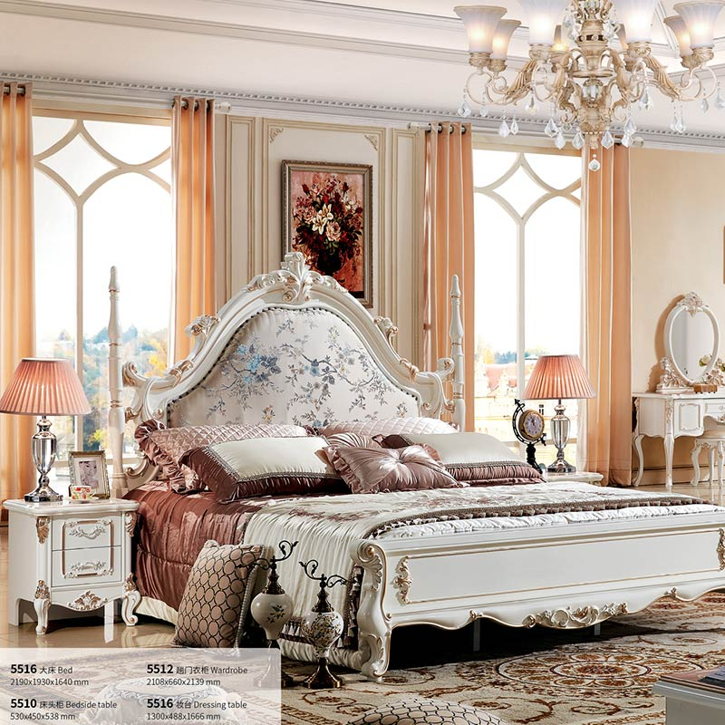 french solid wood bed room furniture double king bed normal contemporary bedroom set-in bedroom