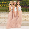 Honey Qiao 2017 Hot Cheap Boho Bridesmaid Skirts Without Camisole Tulle Maxi Skirts Floor Length Prom Party Skirts