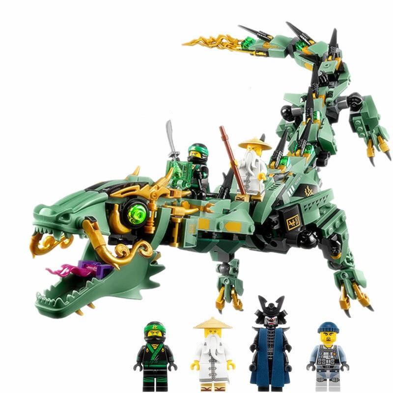 592pcs Diy ninjagoes figures Series Flying mecha dragon Building Blocks compatible with playmobil Bricks Toys for children gift