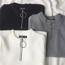 Summer Korean Style Women Temperament All-match Zipper Short Sleeve T-shirts 2018 Harajuku Casual Women Ring Knitting T-shirts
