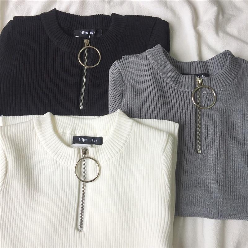 Summer Korean Style Women Temperament All-match Zipper Short Sleeve T-shirts 2019 Harajuku Casual Women Ring Knitting T-shirts