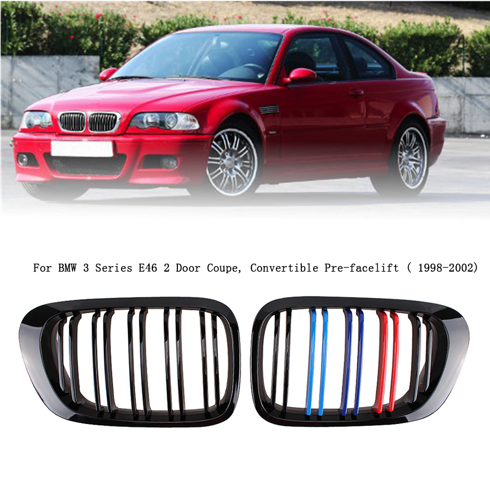 Parrilla De Color M Negra Brillante Frontal Para Bmw E46 2 Puertas 3