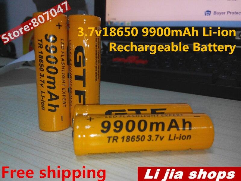 4pcs/lot TR 3.7V <font><b>18650</b></font> <font><b>9900mAh</b></font> Li-ion Rechargeable <font><b>Battery</b></font> <font><b>18650</b></font> Lithium BatteriesBateria For Flashlight Headlamp Yellow