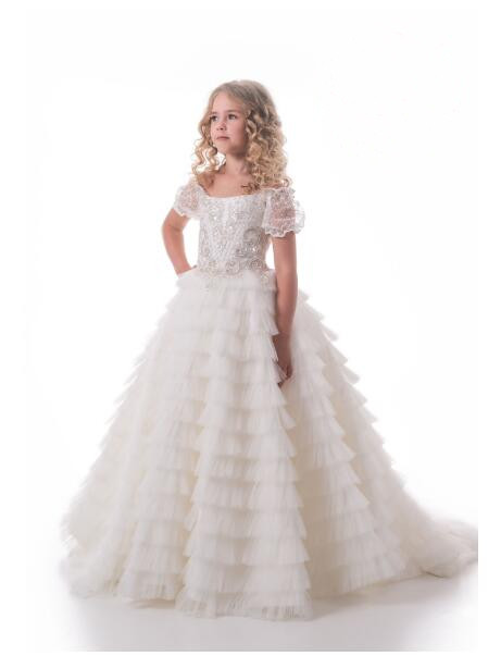 gorgeous flower girl dress full ruffle tulle floor-length sheer lace cup sleeves first communion dress недорго, оригинальная цена