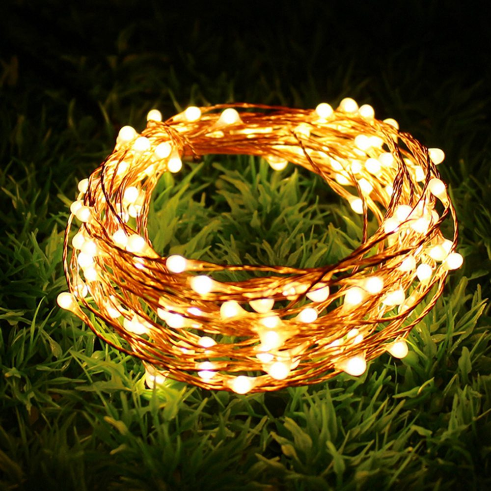 10M 100 LEDit 20M 200LEDS LED Solar Merkkivalo Fairy Light Jouluvalot Kuparilanka Xmas Häät Party Decor Lamppu Garland