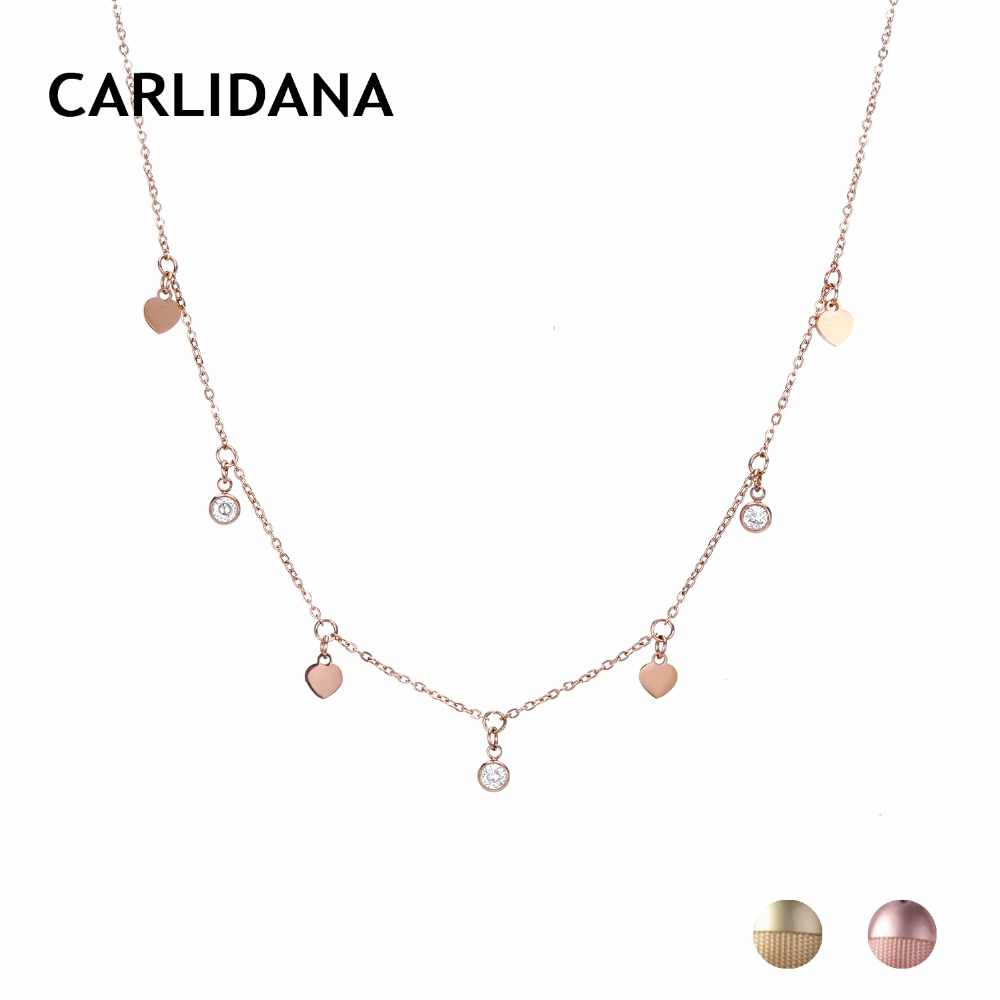 Charming Heart Pendant Necklace Gold Color Stainless Steel Statement Necklace For Women Vintage Fashion Jewelry Gifts CARLIDANA
