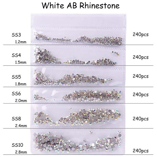 1440pcs Shiny Rhinestone for Nail SS3-SS10 Non Hotfix Glass Rhinestones Crystal Flatback 3D Nail Art Decoration Charms Set CH880