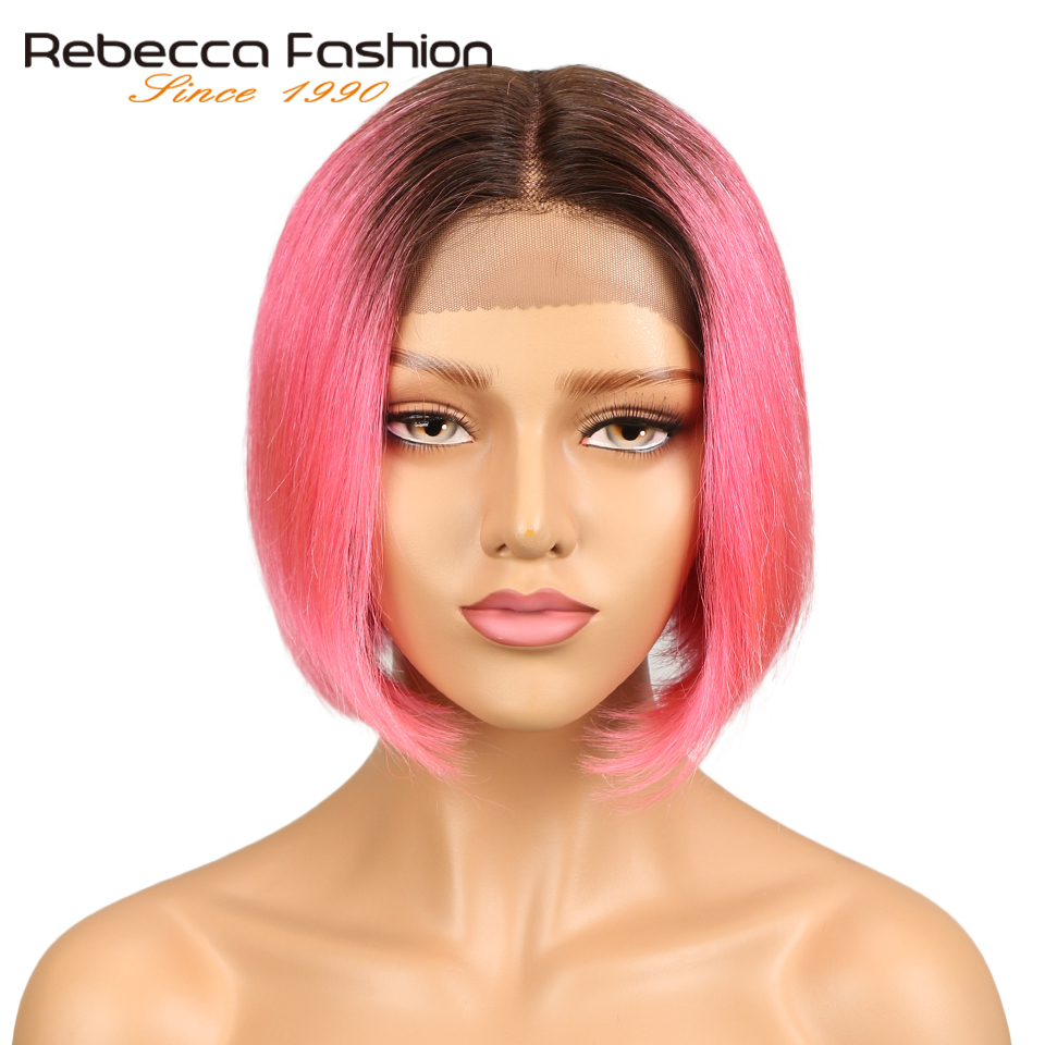 Rebecca Silky Straight Short Bob Lace Front Human Hair Wigs For Women Two Tone 2/Pink Color Middle Part Ombre Lace Wig 120g
