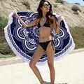 Fashion Turkish Throw Roundie Mandala Circular Round Printed Cotton Large Beach Bath Towels with Tassels L38352