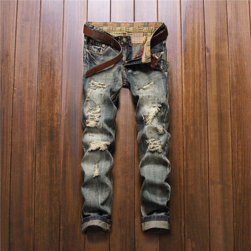 ФОТО Men's hole patch ripped jeans Slim fit patchwork denim pants Fashion zipper pocket long trousers Casual Men Jeans Trousers