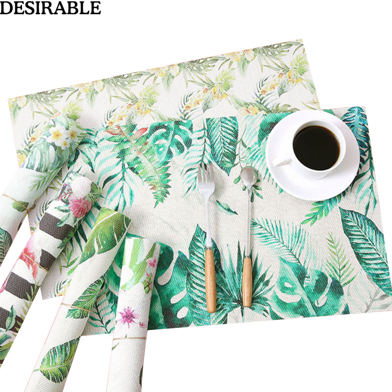 32x45cm Green Tropical Plant Placemat Polyester&cotton Dinner Table Mats Background Cloth Bowl Plate Pad Coasters Mats & Pads