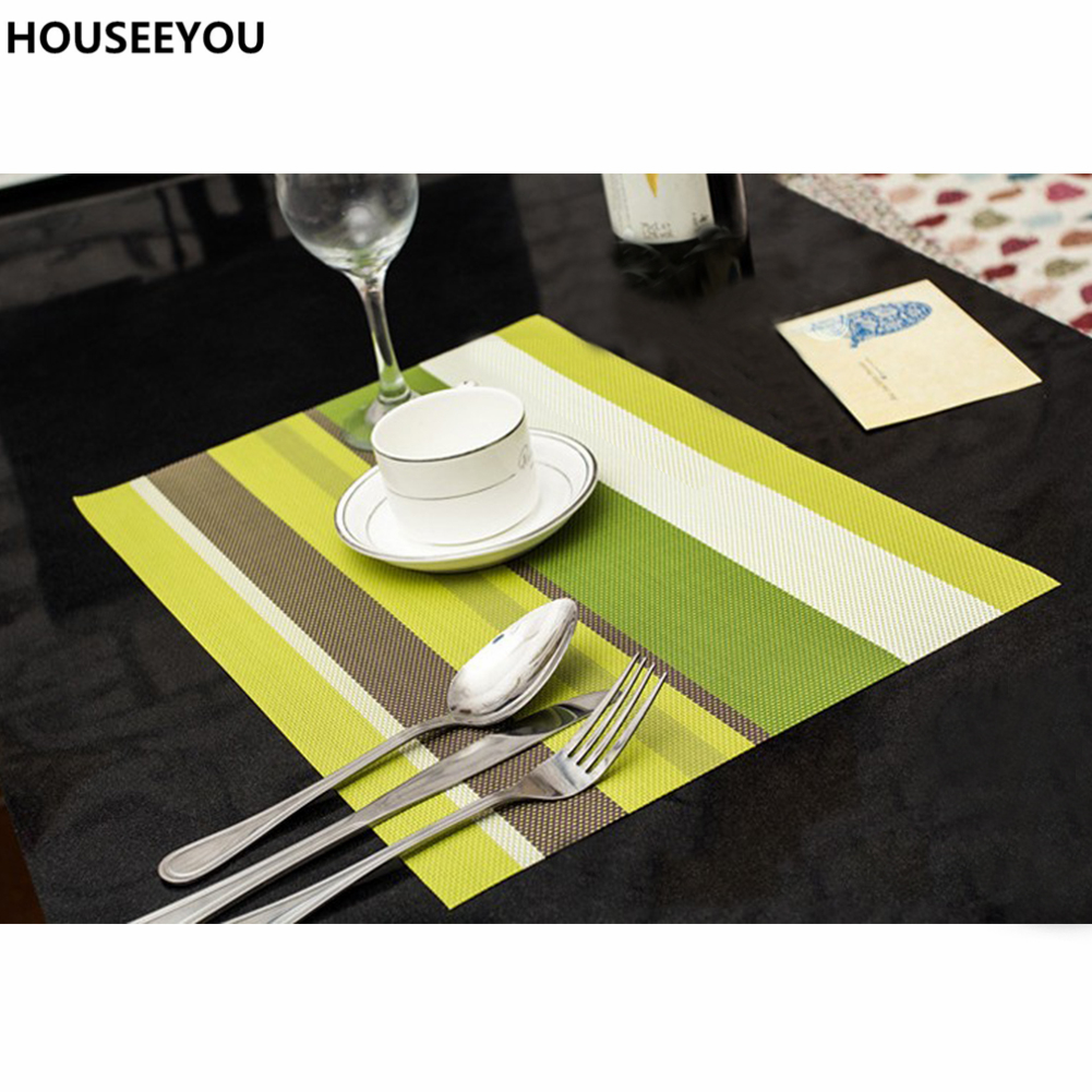 4pcslot heat resistant pvc kitchen dinning stripe table placemats for table mat manteles doilies cup mats coaster pad 4530cm. beautiful ideas. Home Design Ideas