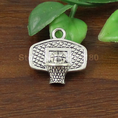 50pcs/lot Metal Zinc Alloy Silver Tone Basketball hoop Charm Pendant For Necklace DIY Jewelry Making Accessories 20x20mm K01579