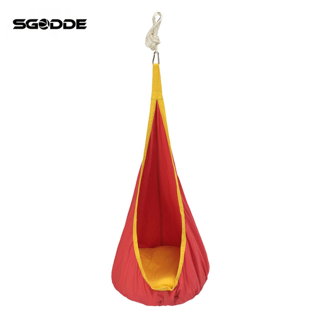 Charming SGODDE Child Pod Swing Chair Reading Nook Tent Indoor Outdoor Hanging Seat  Hammock Kids Cotton Cloth