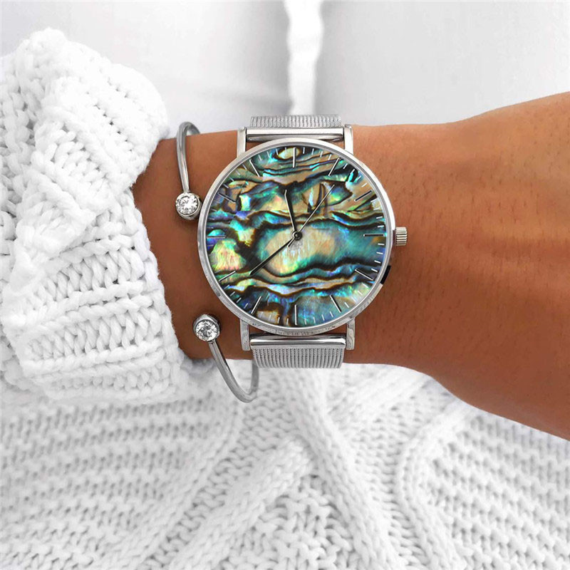 Mavis Hare Ocean Series Real Abalone Silver Color Watches Women Wrist Watches With Crystal Cuff Heart Bracelet Bangle As Gift