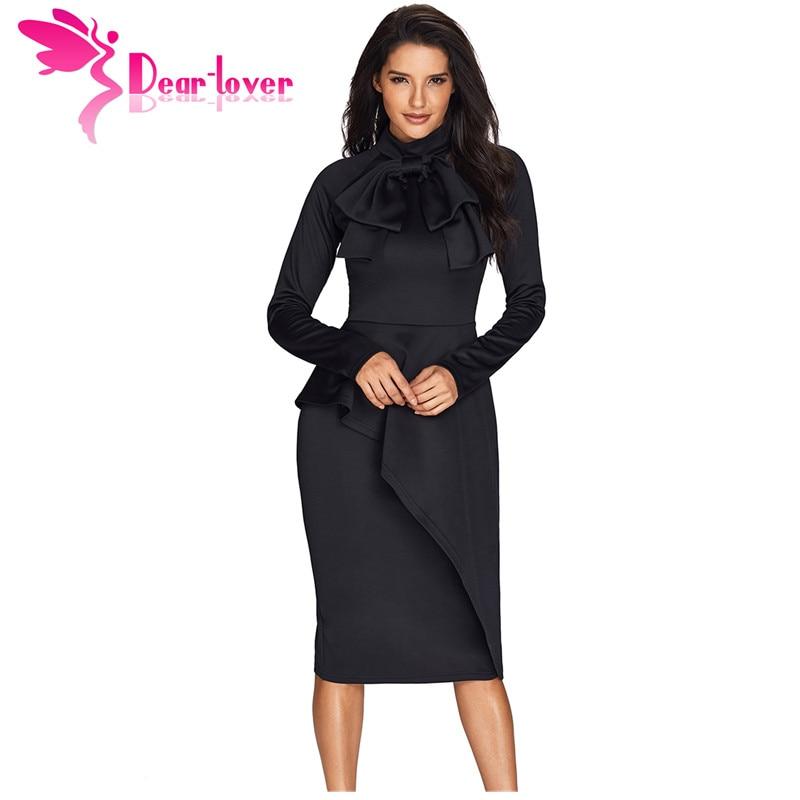 Detail Feedback Questions about Dear Lover Long Sleeve Women Work Wear  Black Asymmetric Peplum Style Pussy Bow Knee Length Sheath Dress Vestidos  Elegant ... e86ed72ef948