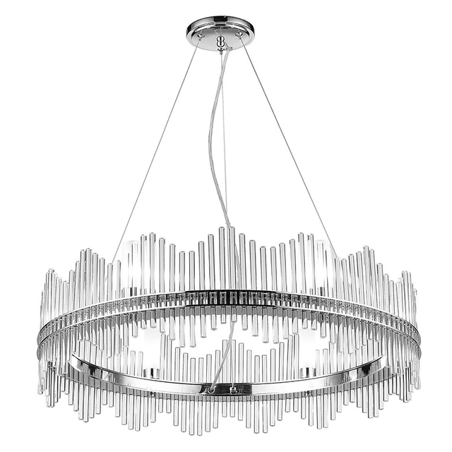 Post Modern Pendant Light Circle Crystal Dia 80cm Chrome G9 Bulb Warm White 3000k