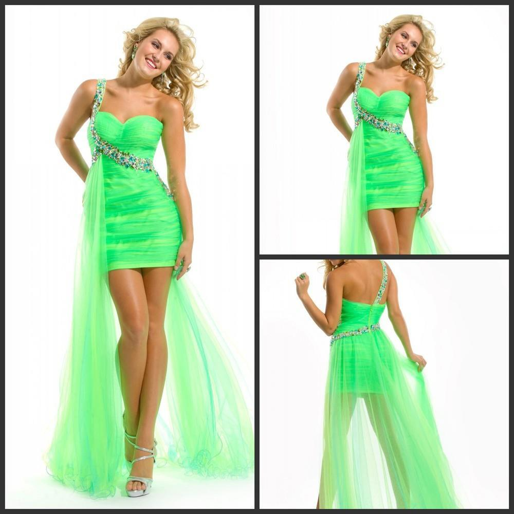 Popular Green High Low Prom Dress-Buy Cheap Green High Low Prom ...