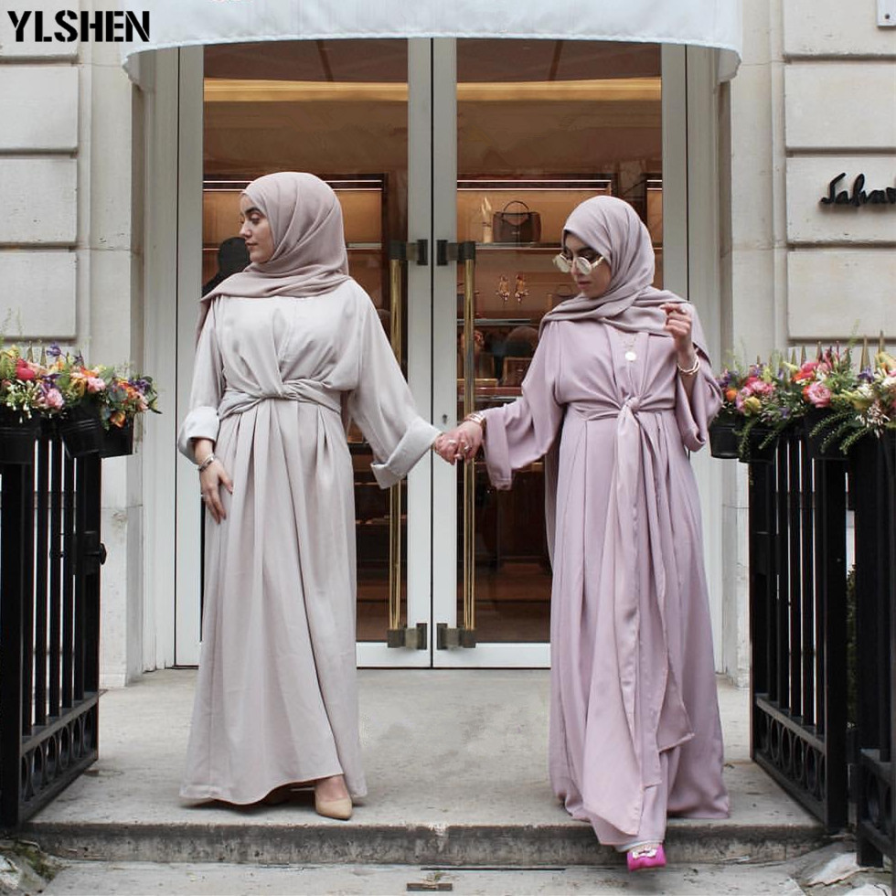 Abaya Muslim Dress Fahion Fake Two Pieces Robe Musulmane Turkish Dubai Muslimah Kaftan Robe Full Length Worship Service Abaya