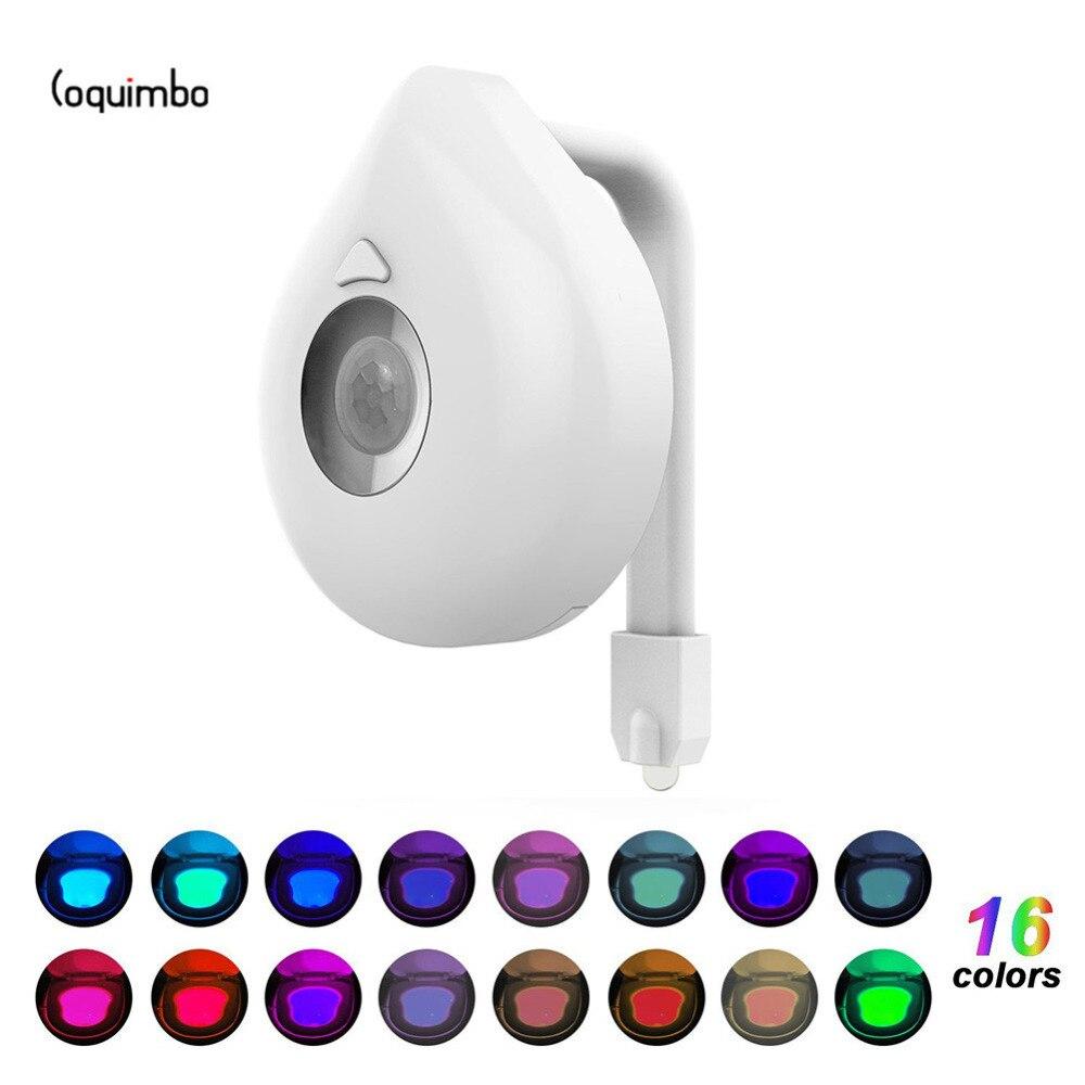 Us 266 34 Offcoquimbo 16 Kolorów Motion Oświetlenie Do Toalety Z Czujnikiem Zasilanie Bateryjne Podświetlenie Do Muszli Klozetowej Pasuje Do