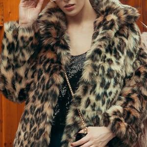 Image 4 - שיק הנשים Leopard פו פרווה מעיל החורף לעבות חם ארוך שרוול Slim פרווה מעיל הלבשה עליונה תעלה אלגנטית מעילי מסיבת מעיל