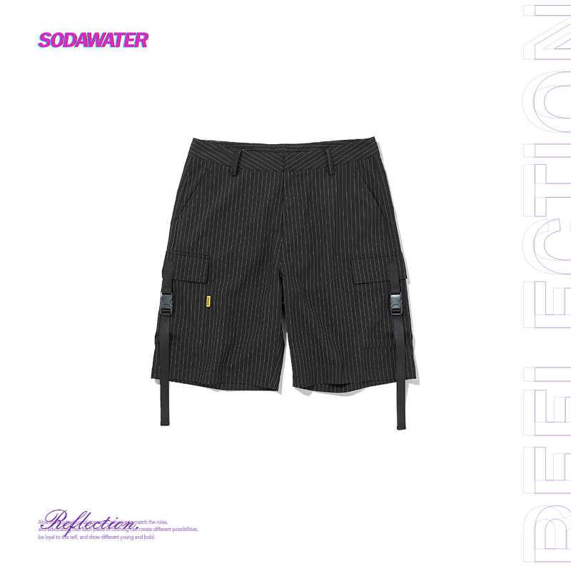 SODAWATER GIRL 2019 Summer Shorts Women Hip Hop Ribbons Striped Cargo Short Pants Ladies Casual Streetwear Black Shorts 9318S