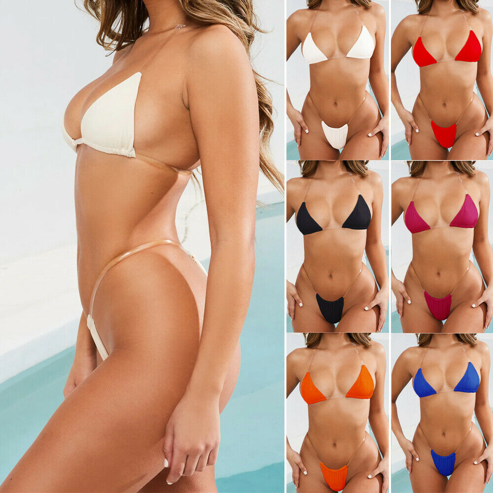 8 Colors <font><b>Micro</b></font> <font><b>Bikini</b></font> Women Swimwear 2019 New <font><b>Sexy</b></font> Thong <font><b>Bikini</b></font> Transparent Strapes Women Swimwear Bathing Suit Hot Swim Biquini image