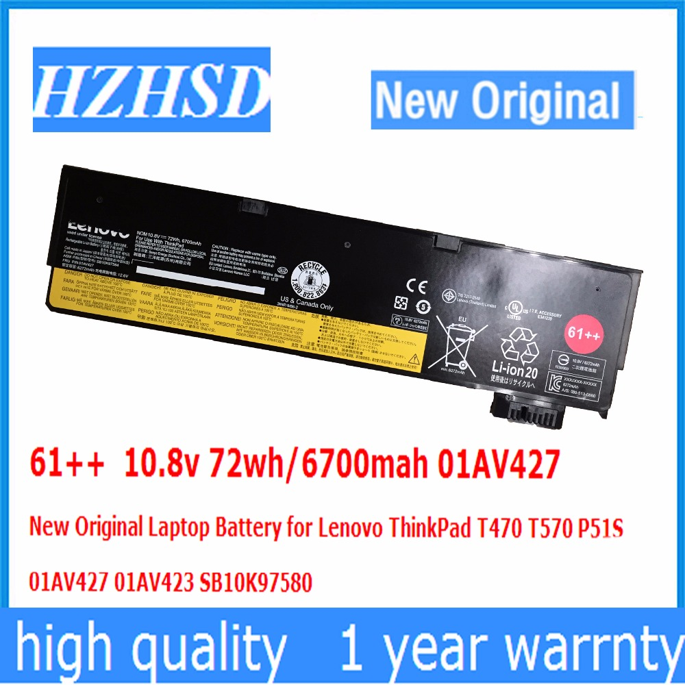 61++ 10.8v 72wh/6700mah 01AV427 New Original Laptop Battery for Lenovo ThinkPad T470 T570 P51S 01AV427 01AV423 SB10K97580 10 8v 5 2ah genuine new laptop battery for lenovo thinkpad t400 t61 t61p r61 r61i r400 14 42t4677 42t4531 42t4644 42t5263 6cell