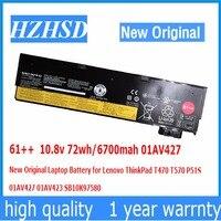 61++ 10.8v 72wh/6700mah 01AV427 New Original Laptop Battery for Lenovo ThinkPad T470 T570 P51S 01AV427 01AV423 SB10K97580